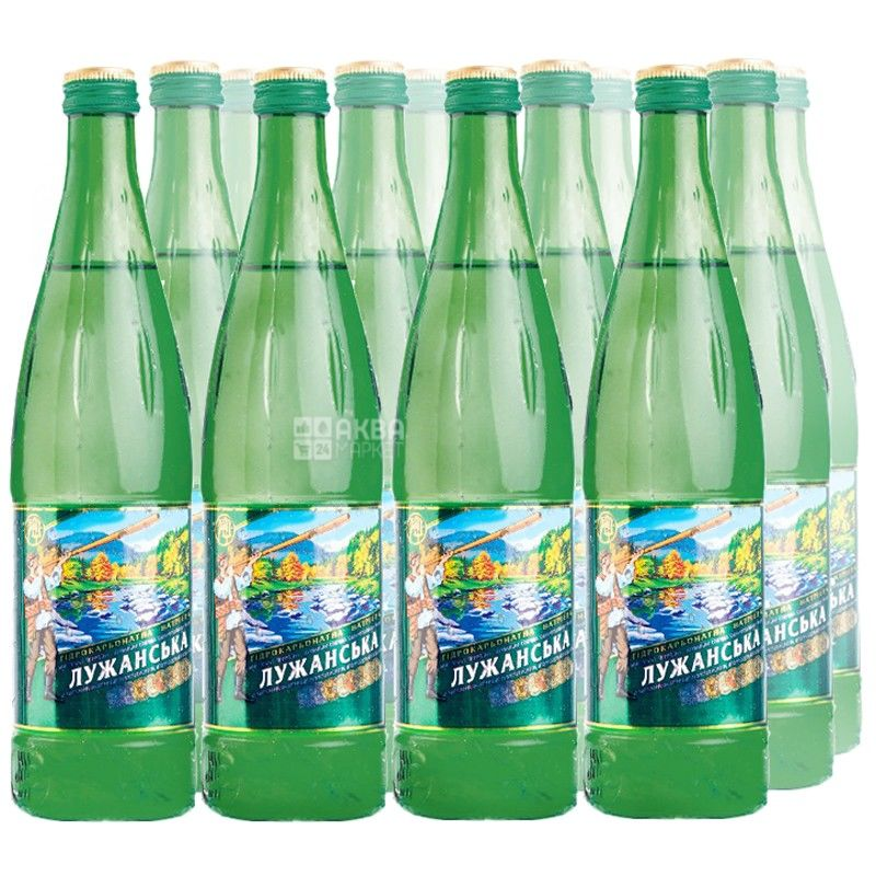 Лужанская, упаковка 12 шт. по 0,5 л, газированная вода, стекло, УМВ