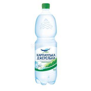 Карпатська Джерельна, Упаковка 6 шт. по 1,5 л, Вода слабогазована, Мінеральна, ПЕТ