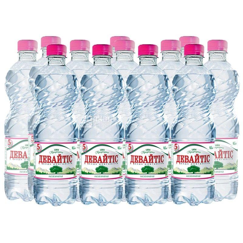 Девайтис, Упаковка 12 шт. по 0,5 л, Вода негазированная, ПЭТ
