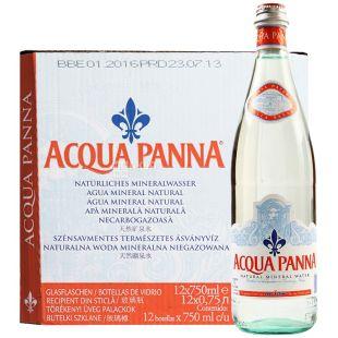 Acqua Panna, упаковка 12 шт. по 0,75 л, негазована вода, скло