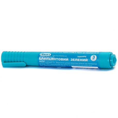 Лікол, 3 мл, зелёнка-карандаш, Спиртовой, 1%, ПЭТ