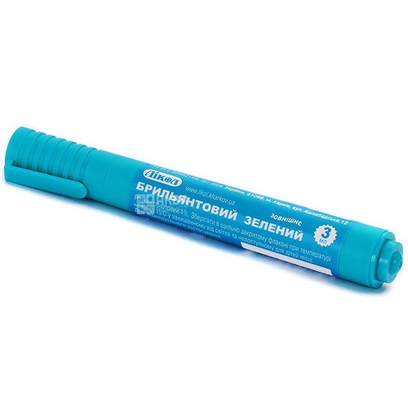 Лікол, 3 мл, зеленка-олівець, Спиртовий, 1%, ПЕТ