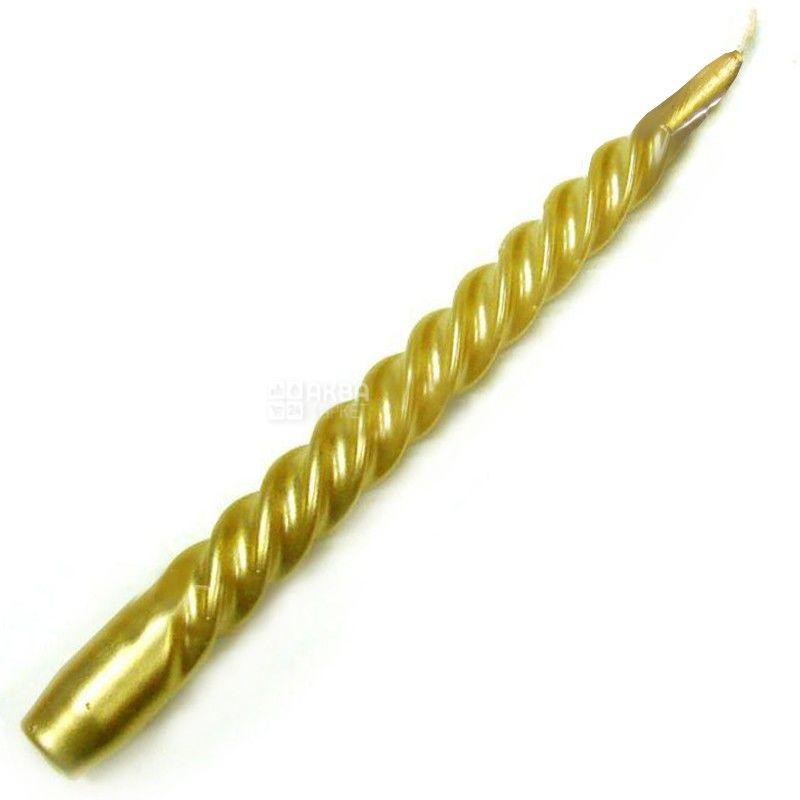 Свічка спіральна, 24 см, Золотий металік, м/у