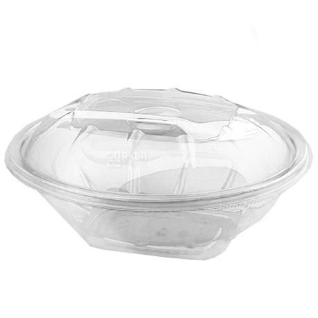 Salad container, 375 ml, Plastic, With a fork, m / y