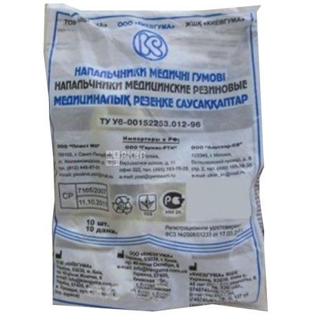 Напальчник медицинский, 10 шт., Резиновый, №10, м/у