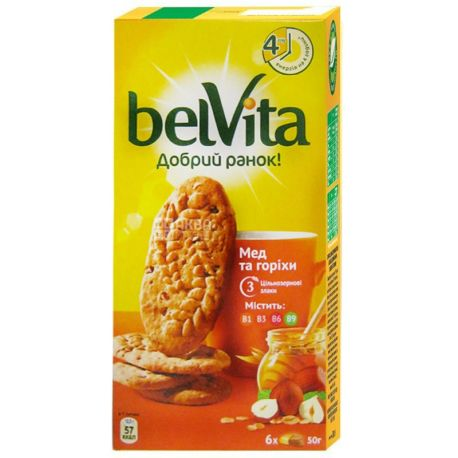 Belvita, 300 г, печиво, Добрий ранок, з медом та горіхами