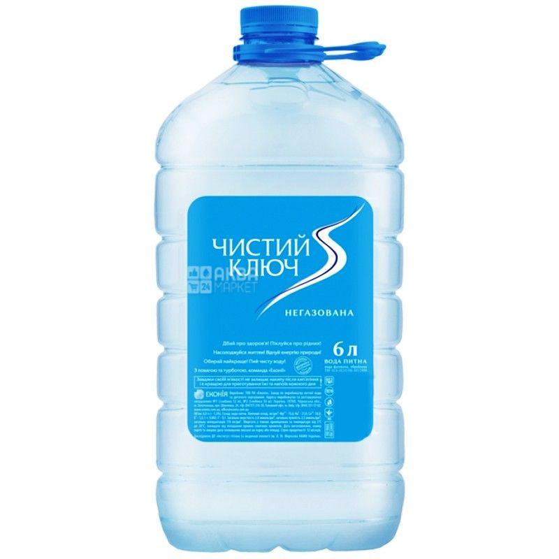 Чистый ключ, 6 л, Упаковка 10 шт., Вода негазированная, ПЭТ