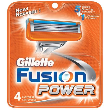 Gillette, 4 шт., сменные кассеты, Fusion Power