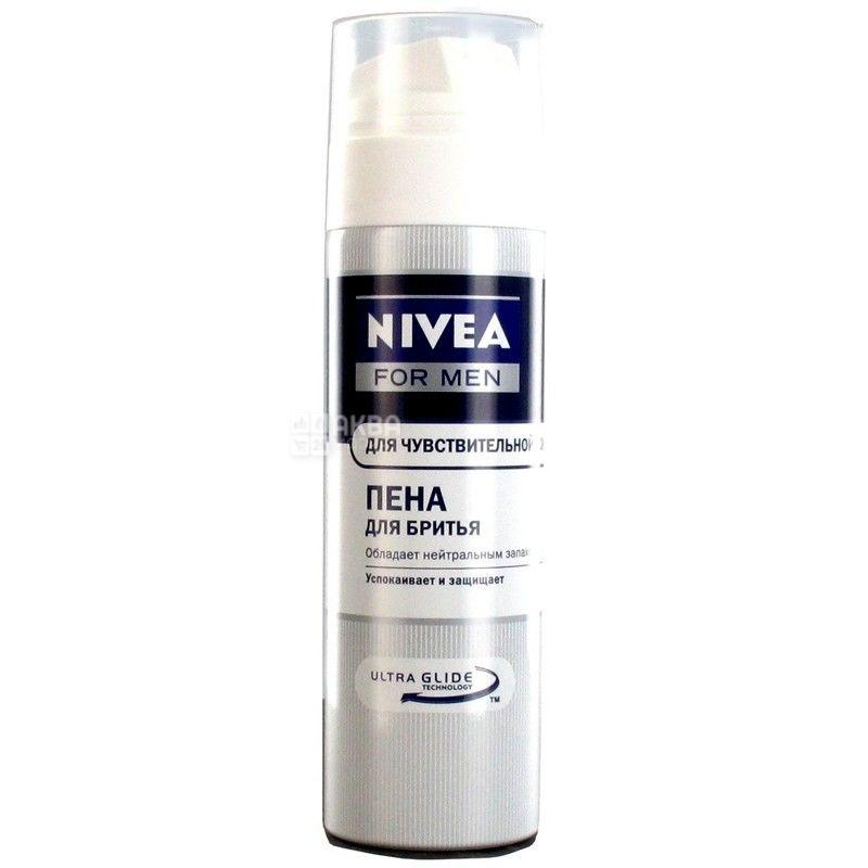 Nivea, 200 мл, пена для бритья, Для чувствительной кожи, ж/б