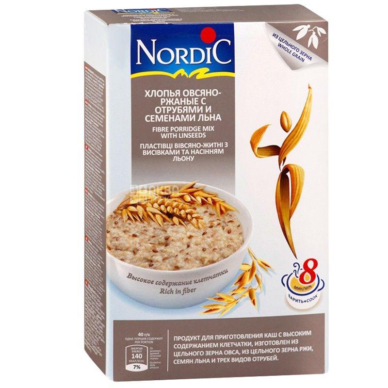 Nordic, 0,6 кг, Хлопья Нордик, овсяно-ржаные, с отрубями и семенами льна