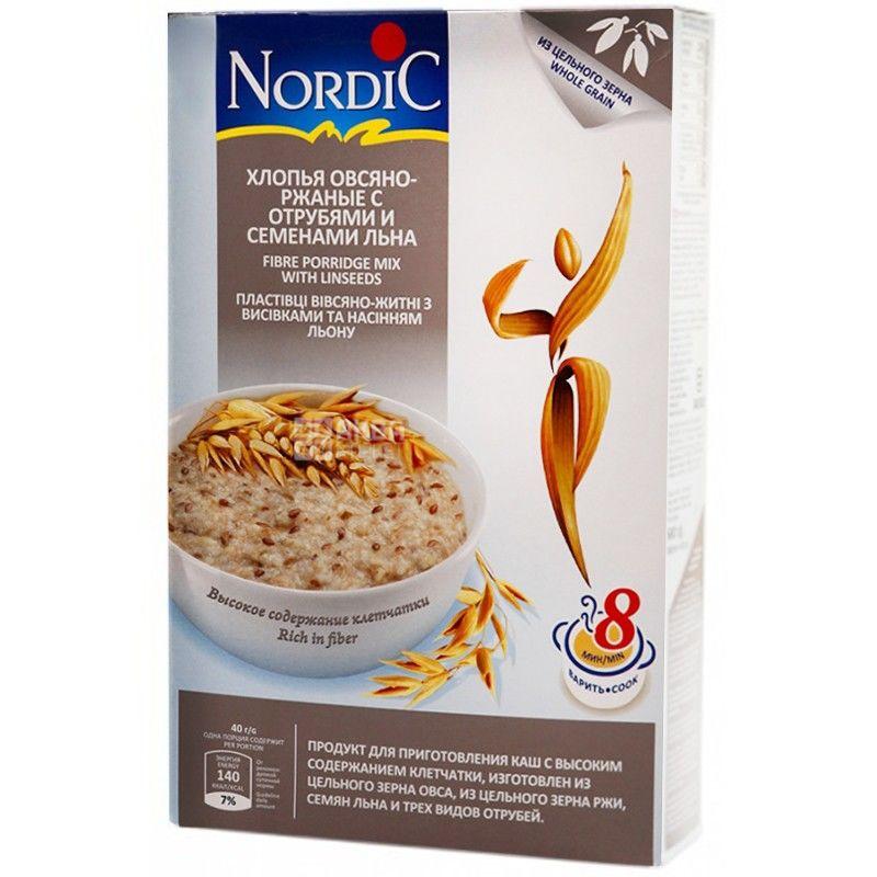 Nordic, 0,6 кг, Пластівці Нордік, вівсяно-житні, з висівками і насінням льону
