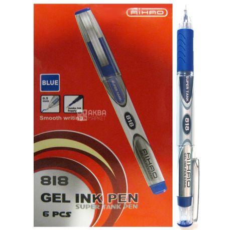 AIHAO, 6 шт., 0,5 мм, ручка гелева, Синя, м/у