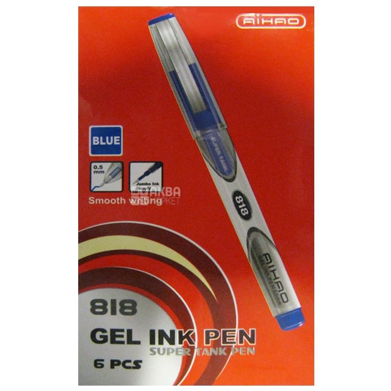AIHAO, 6 шт., 0,5 мм, ручка гелевая, Синяя, м/у