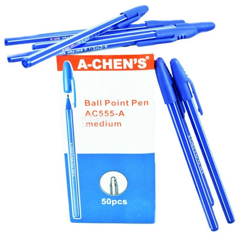A-Chen's, 50 шт., 0,5 мм, ручка кулькова, Синя, м/у