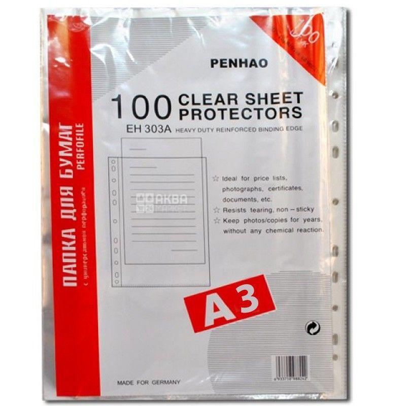 Penhao, Файлы прозрачные А3 40 мкм, 100шт.