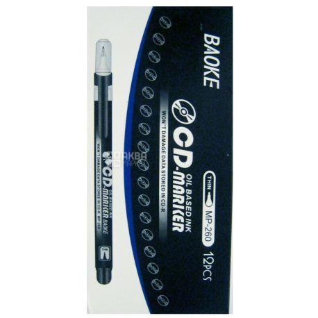 AIHAO, Маркер для СD дисков, Чёрный,1 мм, 12 шт.