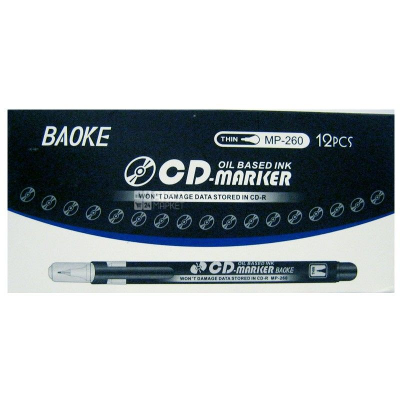 AIHAO, Маркер для СD дисків, Чорний, 1 мм, 12 шт.