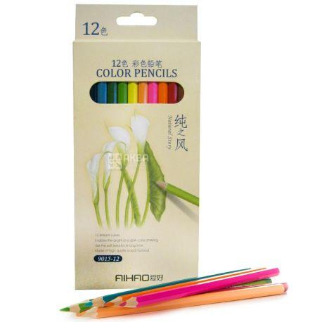 AIHAO, Кольорові олівці, Асорті, 12 шт.