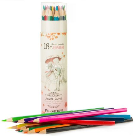 AIHAO, 18 pcs., Colored pencils, Assorted, Set, m / y