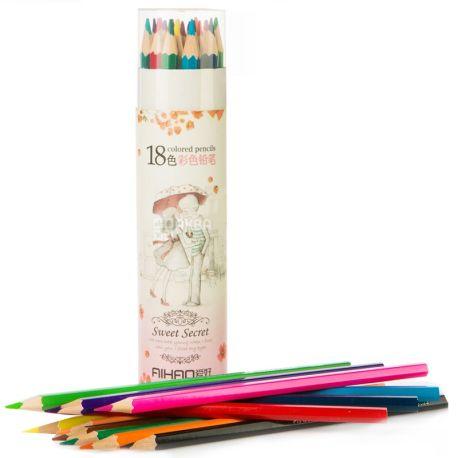 AIHAO, Набор цветных карандашей, Ассорти, 18 шт.