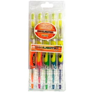 AIHAO, 5 pcs., Marker, Double-sided, Fluorescent, m / s