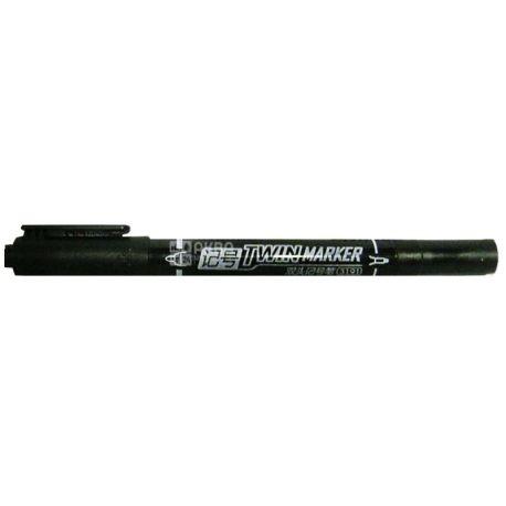 AIHAO, Маркер двухсторонний, Черный, 0,7 и 2 мм, 12 шт.