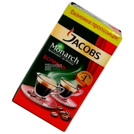 Jacobs Monarch Espresso, 450 г, Кава Якобс Монарх Еспрессо, середнього обсмаження, мелена