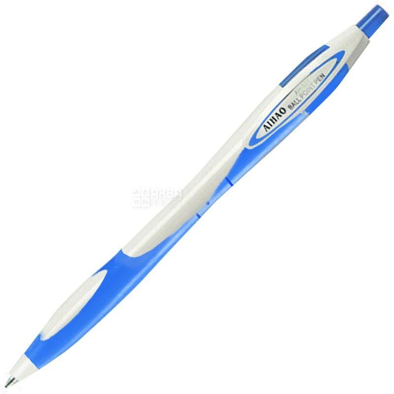 AIHAO, 12 шт., 0,5 мм, ручка шариковая, Автоматическая, Синяя, С резиновыми вставками, м/у