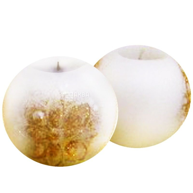 Natali Candles, 7х6,5 см, свеча, Шар, Белая с золотом, м/у