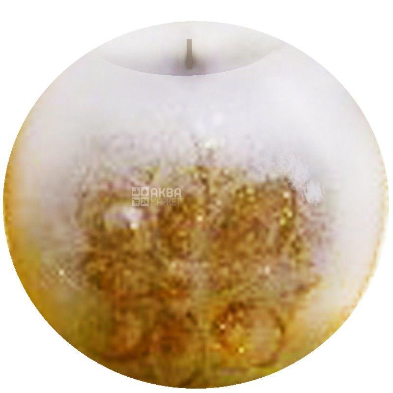 Natali Candles, 7х6,5 см, свічка, Куля, Біла з золотом, м/у