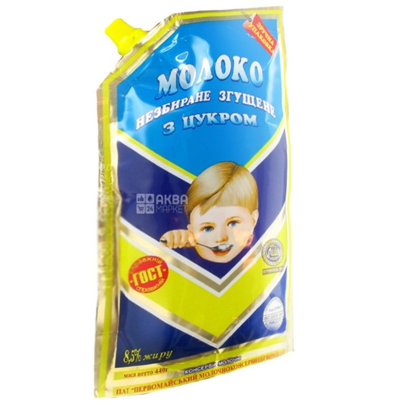Первомайський МКК, Молоко згущене незбиране з цукром 8,5%, 440 г