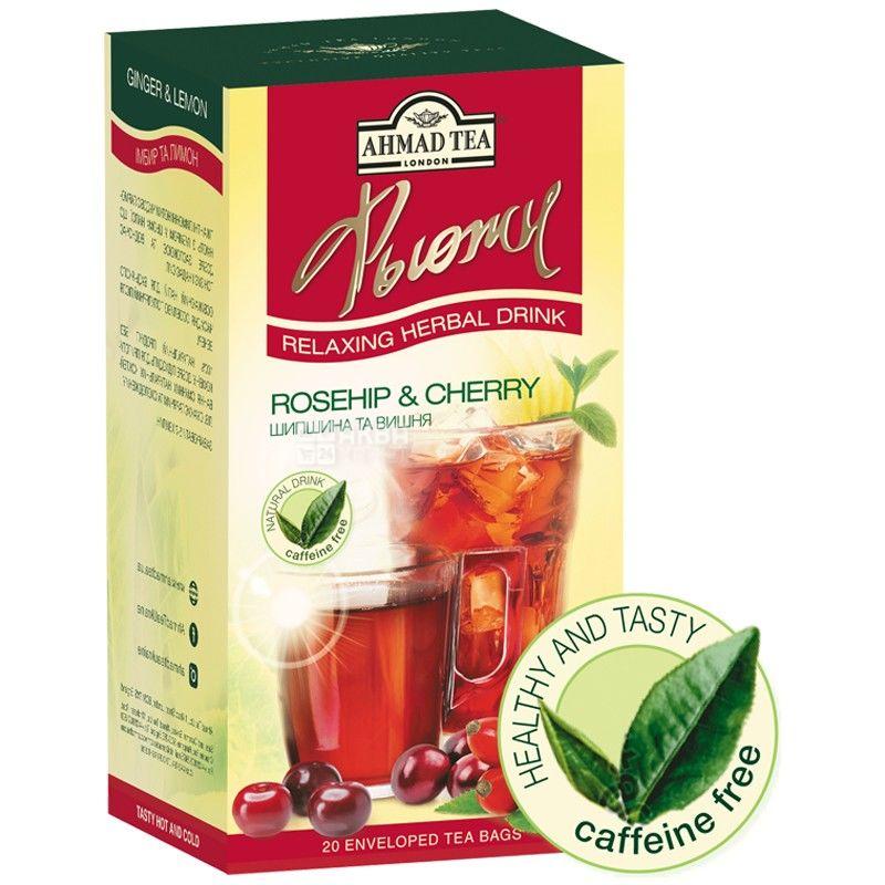 Ahmad Tea Fusion, 20 пак, Чай фруктовый Ахмад Ти Фьюжен, Шиповник и вишня