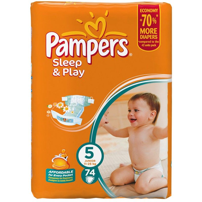 Pampers, 5 / 74 шт. 11-25 кг, подгузники, Sleep & Play