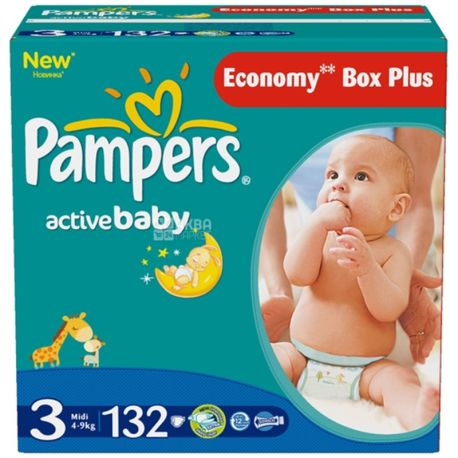 Pampers, 3 / 132 шт. 4-9 кг, підгузники Active Baby Dry