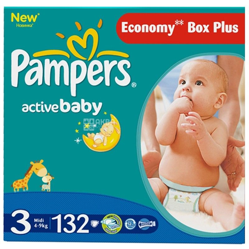 Pampers, 3 / 132 шт. 4-9 кг, подгузники Active Baby Dry