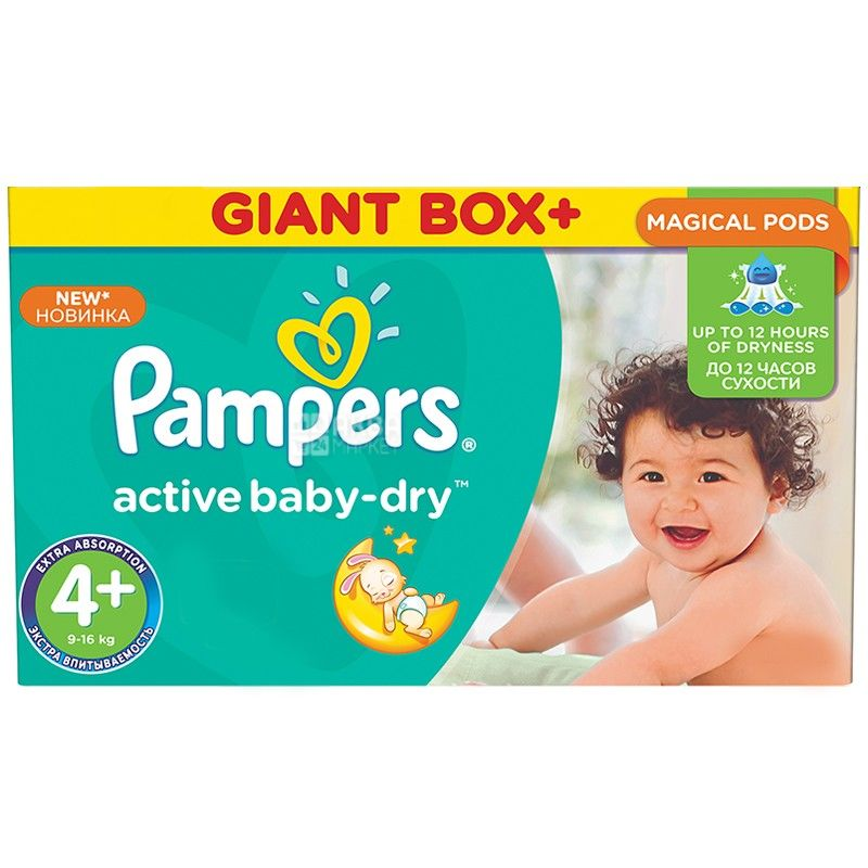 Pampers, 4+ / 106 шт. 9-16 кг, підгузники, Active Baby Dry Maxi Plus