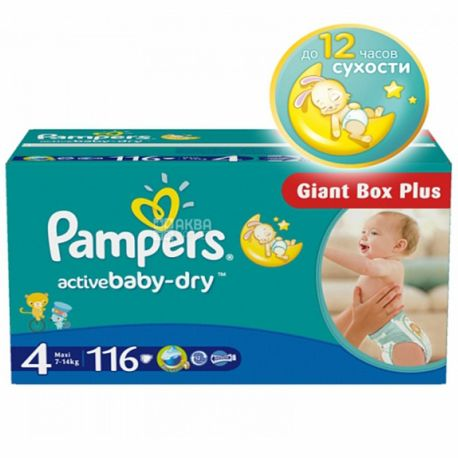 Pampers, 4 / 116 шт. 7-14 кг, подгузники, Active Baby Dry