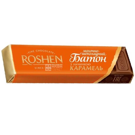 Roshen, 40 г, шоколадний батончик, з карамелю