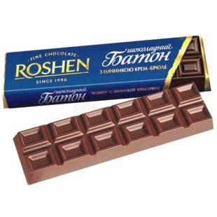 Roshen, 43 g, chocolate bar, creme brulee