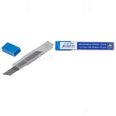 Buromax, 0,7 мм, стержень, Для механического карандаша, Черный, м/у
