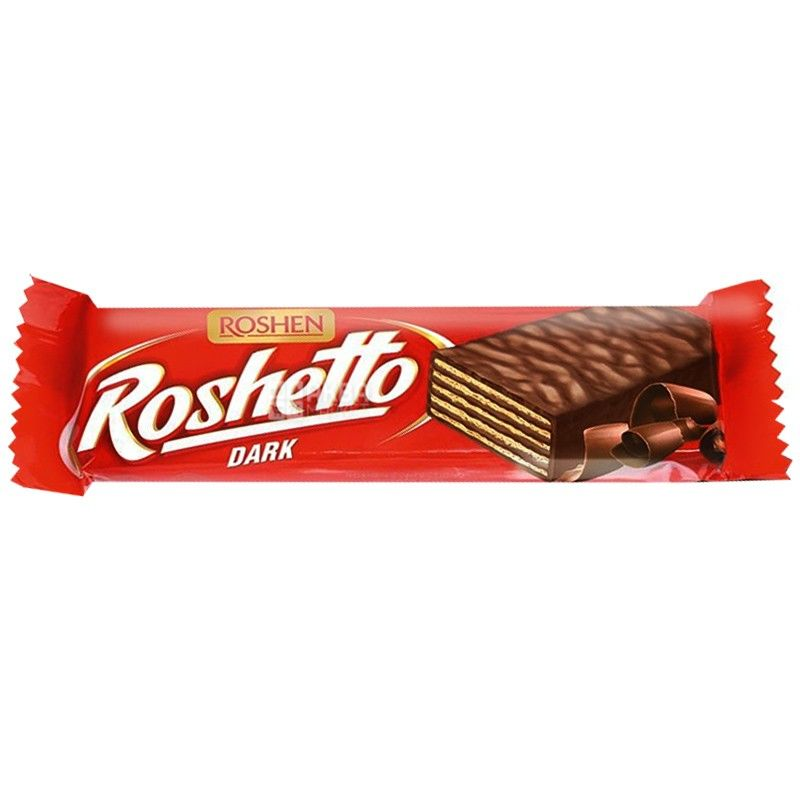 Roshen, 32 г, вафельный батончик, Roshetto dark chocolate