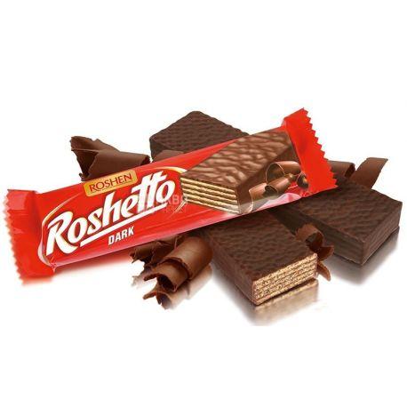 Roshen, 32 г, вафельний батончик, Roshetto dark chocolate