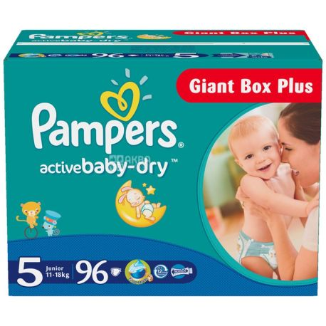Pampers, 5 / 96 шт. 11-18 кг, підгузники, Active Baby Dry