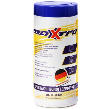 Мaxxtro, 100 шт., салфетки влажные, Очищающие, тубус