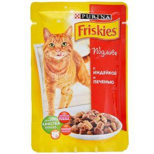 Friskies, 100 г, корм, для котов, с индейкой и печенью  в подливе, Adult