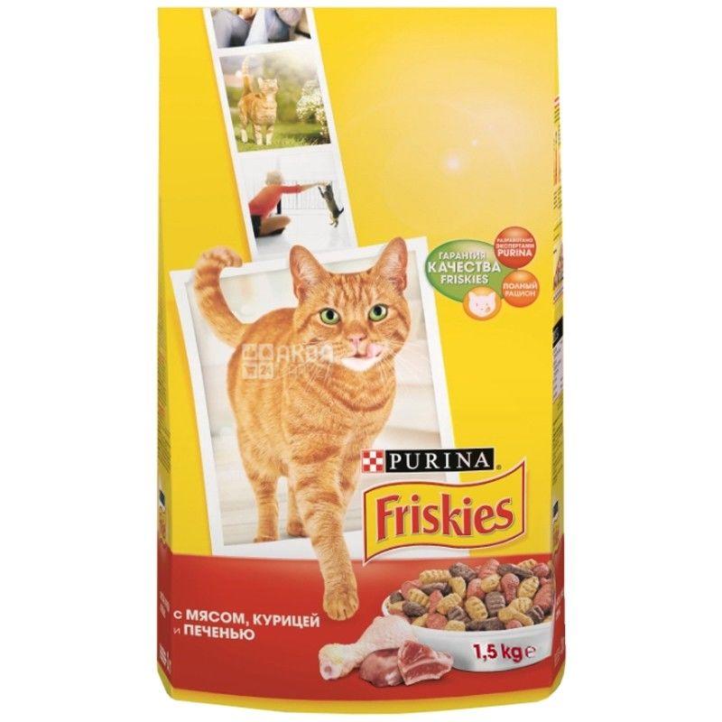 Friskies, 1500 г, корм, для котов, с мясом, курицей и печенью, сухой, Adult