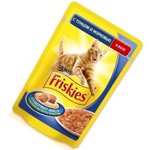 Friskies, 100 g, food, for cats, with tuna and carrots, in jelly, Adult