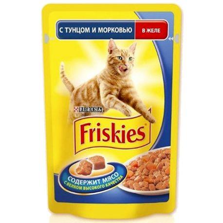 Friskies, 100 г, корм, для котов, с тунцом и морковью, в желе, Adult