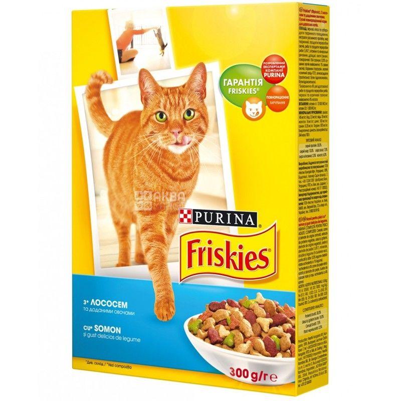 Friskies, 300 г, корм, для котов, с лососем и овощами, сухой, Adult