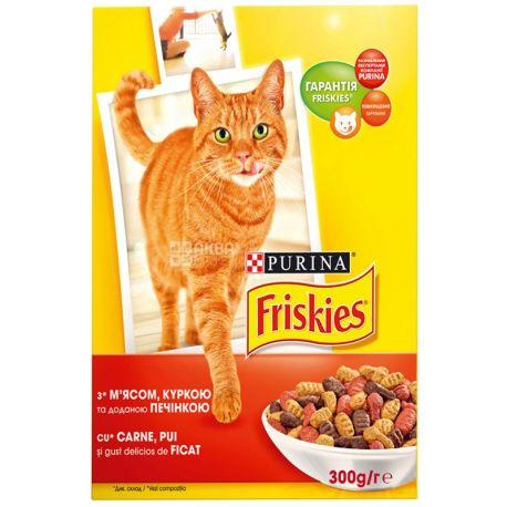 Friskies, 300 г, корм, для котів, з м'ясом, куркою та печінкою, сухий, Adult